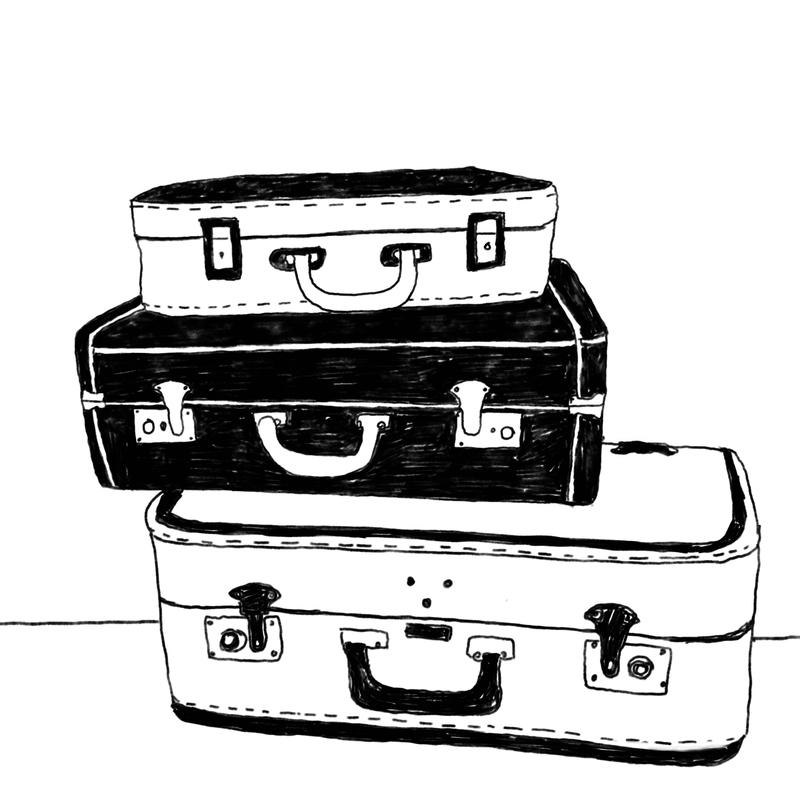 A drawing of stacked suitcases.