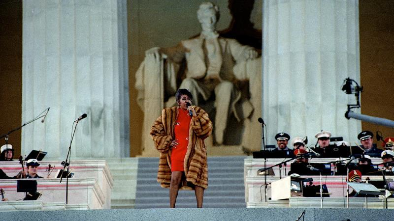 Aretha Franklin preforms at the Lincoln Memorial for President Clinton's inaugural gala on January 17, 1993.