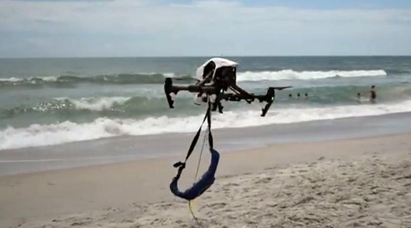 A screengrab of a video showing the Wrightsville Beach Fire Department use a drone for a simulated beach rescue.