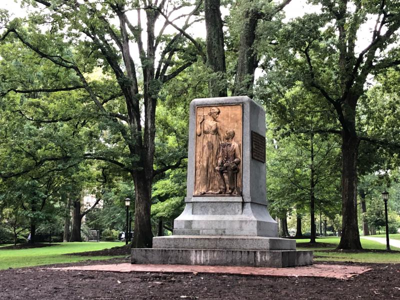 The pedestal of the Silent Sam statue without the Confederate monument on Tuesday, August 21, 2018.