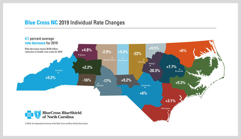 This map shows the disparity of premium rate changes for Blue Cross and Blue Shield of North Carolina Affordable Care Act customers