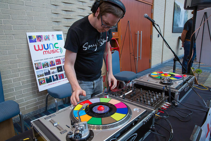 Seth Beard of Sorry State Records takes over the DJ duties at the WUNC Music DJ Booth, Hopscotch 2018