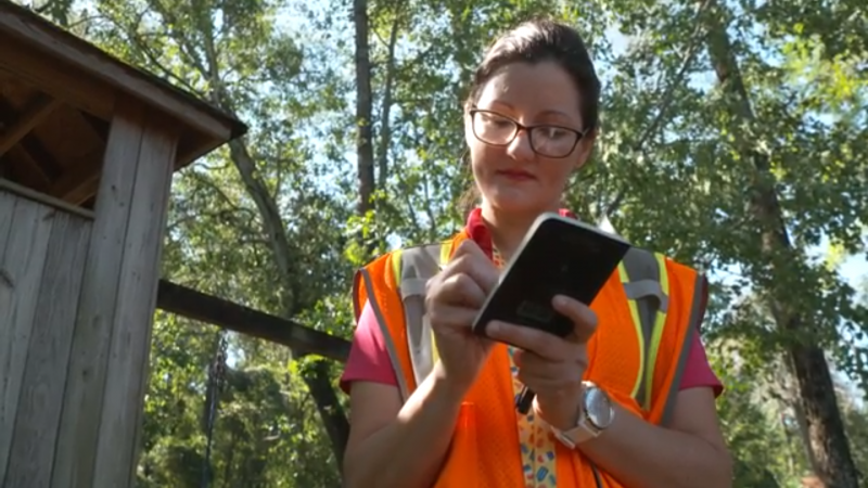 Fayetteville City Engineer Giselle Rodriguez assesses storm damage and high water marks in the aftermath of Hurricane Florence.
