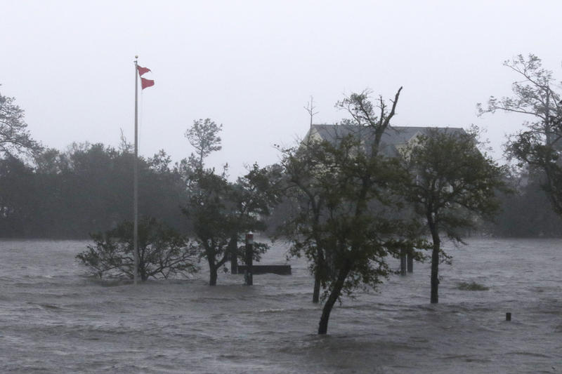 High winds and storm surge from Hurricane Florence hits Swansboro N.C.,Friday, Sept. 14, 2018.