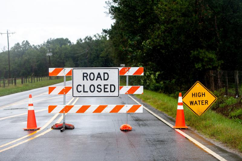 Rising water following Hurricane Florence is leading to road closures like this on on Arrington Bridge Road in Goldsboro, N.C., Sunday, Sep. 16, 2018.