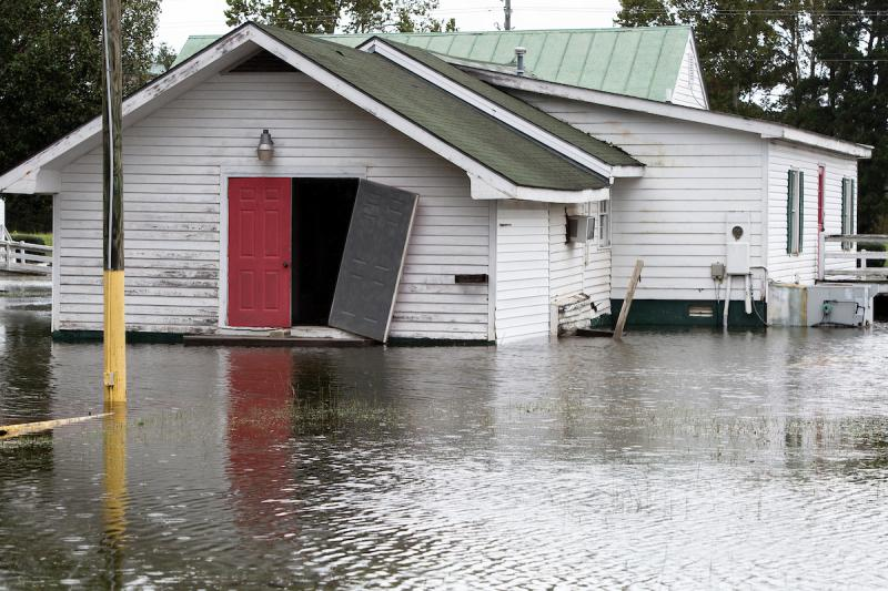 Rising flood waters brought on by Hurricane Florence threaten a building off highway 70 in Goldsboro, N.C., Sunday, Sep. 16, 2018.