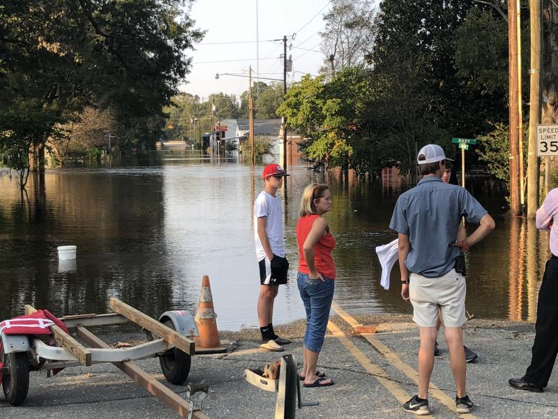 A view of the flooded downtown in Seven Springs, N.C., after Hurricane Florence.
