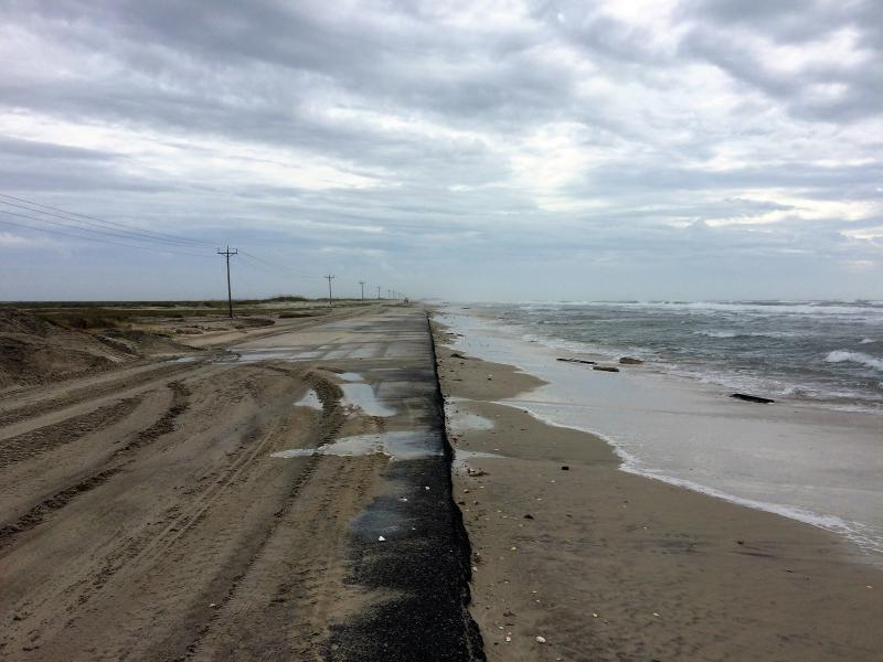 Post-storm view of NC-12 on Ocracoke Island after Hurricane Florence