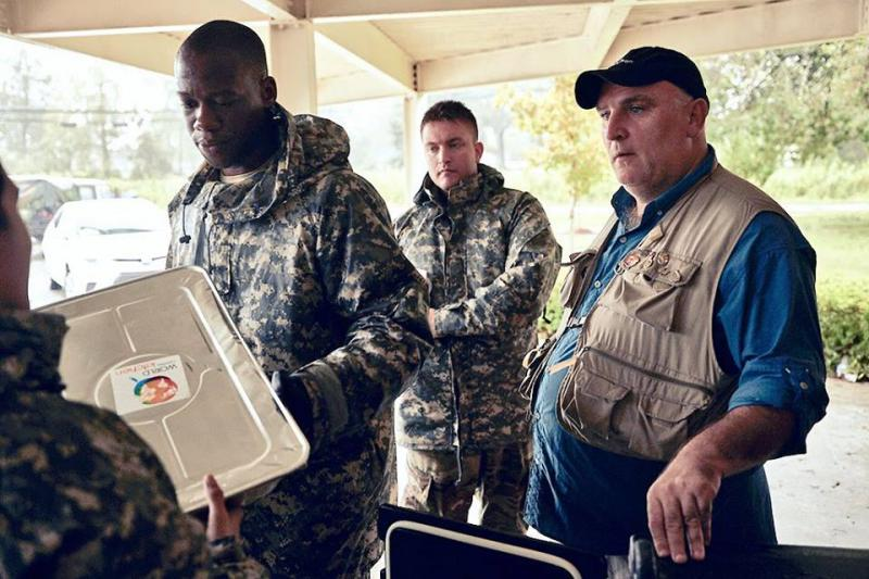 Chef Jose Andres feeds search and rescue teams in Columbus County, NC