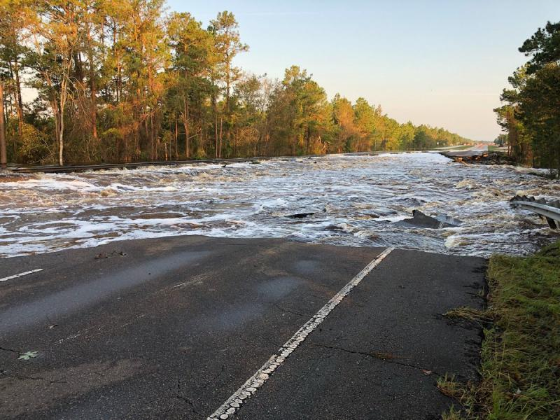 Floodwaters from Hurricane Florence top a section of U.S. 421 near the Pender-New Hanover County line north of Wilmington.