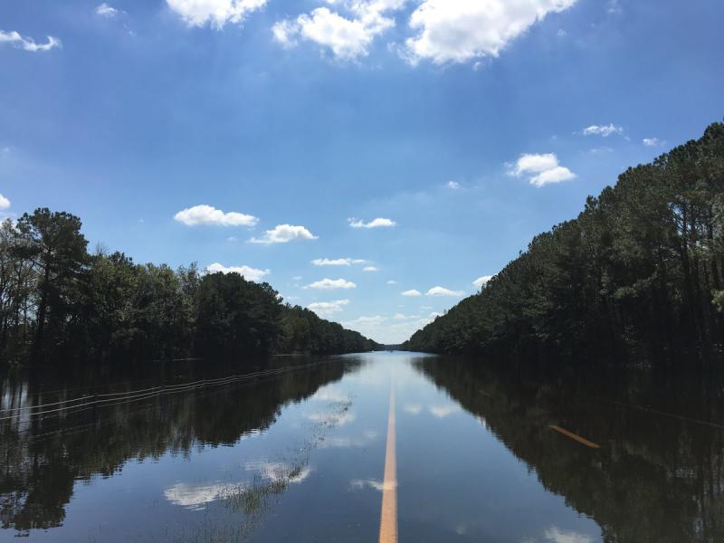 I-40 toward Wilmington remains flooded on Friday, Sept. 21, 2018. The Cape Fear River is expected to crest sometime this weekend.