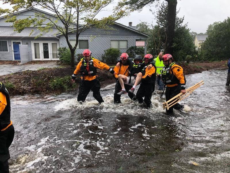 Crews with the NYC Emergency Management perform water rescues in River Bend, N.C., after Hurricane Florence on Friday, Sept. 14, 2018.
