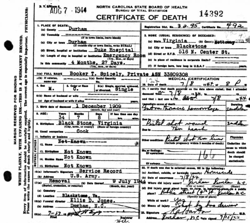 Booker Spicely's 1944 death certificate lists the cause of death as a 'pistol shot wound through head.' The bus driver who fired the show was acquitted.