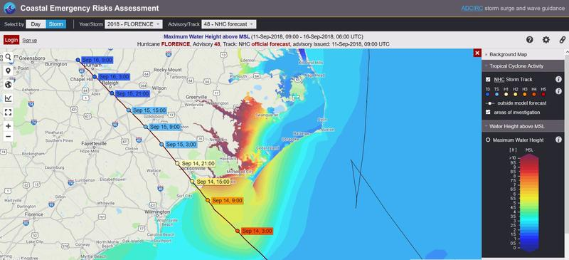 Tuesday morning projections showed Hurricane Florence hitting the North Carolina coast and causing a severe storm surge in several areas.