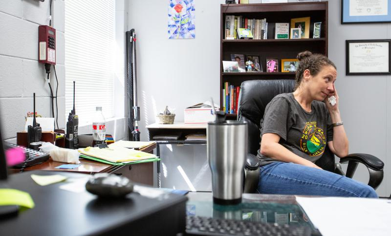 "Principal Maggie Rollison of Trask Middle School in Wilmington, N.C. fights back tears while recalling her experience as a ""shelter principal"" during Hurricane Florence"