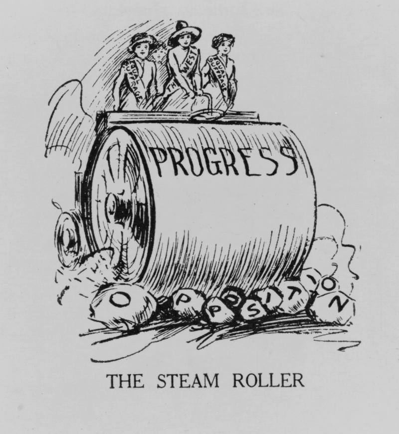 "Political cartoon about elections in the United States. Four women supporting the suffrage are a steamroller crushing rocks ""opposition""."