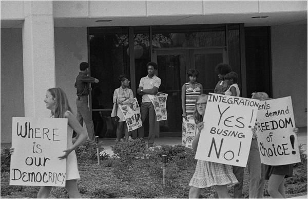 Student activists at an anti-bussing protest in Charlotte in 1970.