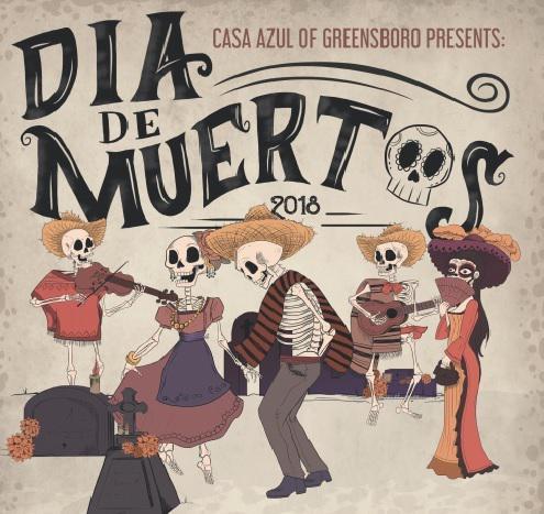 A graphic for Casa Azul of Greensboro's event, Dia De Muertos.