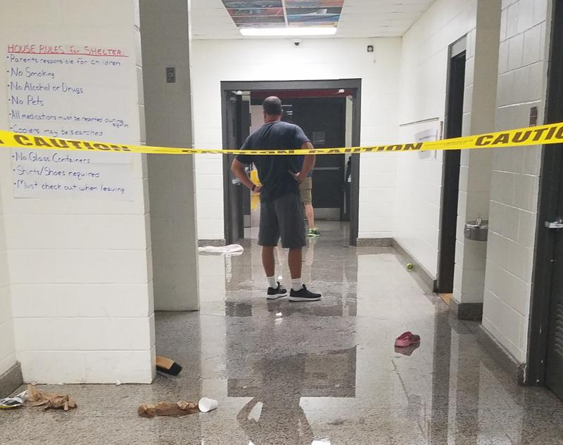 State education officials are still tallyint up the damage to schools. This photo shows flooding at Trask Middle School in New Hanover County.