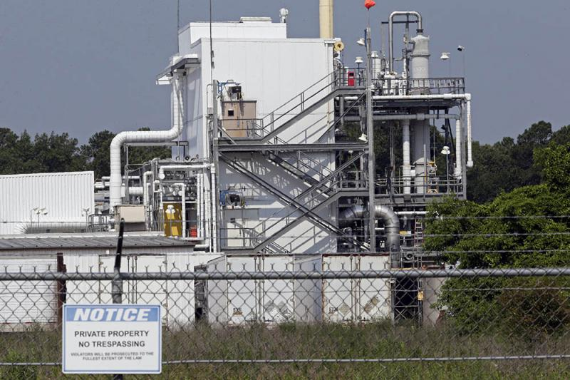 This photo taken Friday, June 15, 2018 shows the Chemours Company's PPA facility at the Fayetteville Works plant near Fayetteville, N.C. where the chemical known as GenX is produced. The chemical has been found in the Cape Fear River, a source of drinking