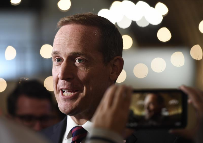Rep. Ted Budd, R-NC, answers questions from the media at his election party in Bermuda Run, N.C., Tuesday, Nov. 6, 2018, after voting in the state ended. Voters re-elected Budd to the House, defeating Democratic challenger Kathy Manning.