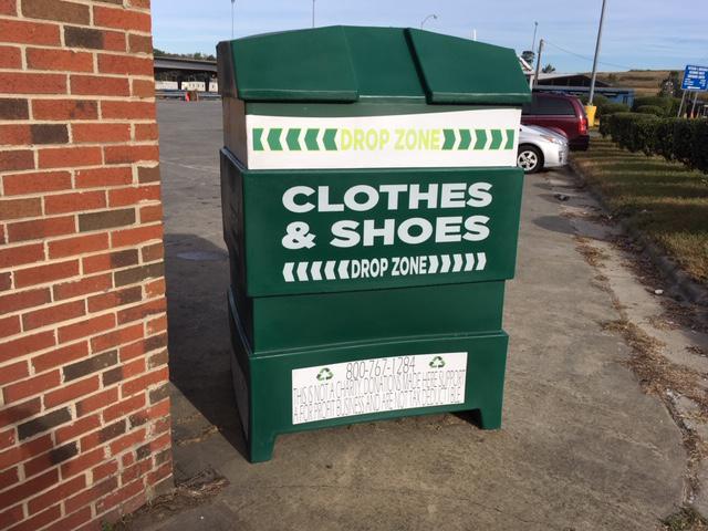 A picture of a Green Zone Drop Zone bin in Durham
