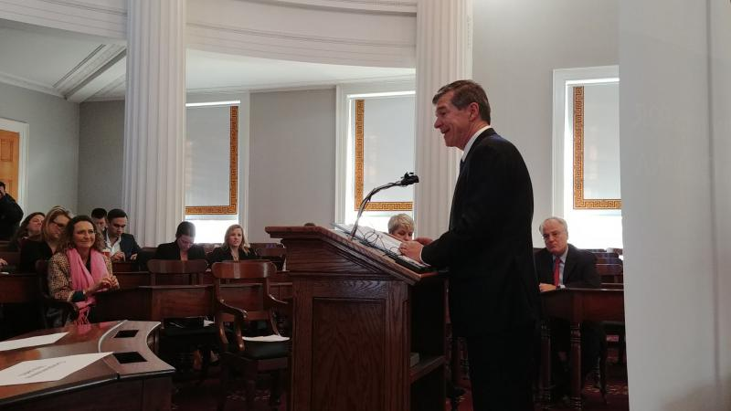 Roy Cooper speaking in the Old NC House Chamber