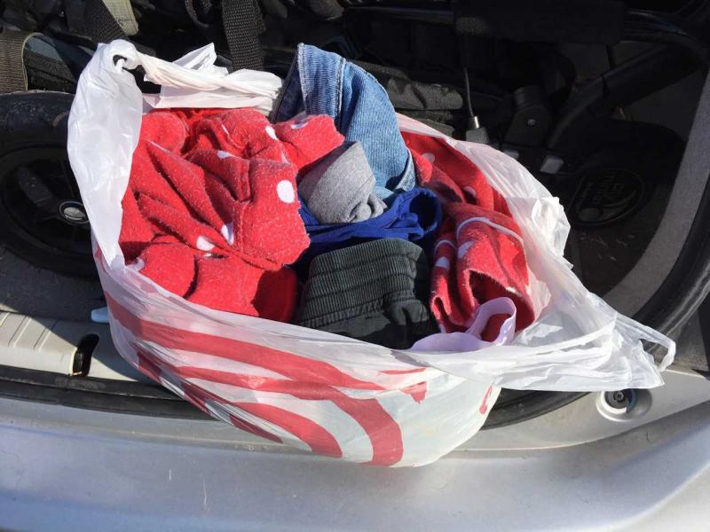 A bag of textiles ready for recycling.