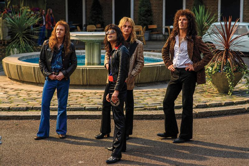 Actor Joe Mazzello as John Deacon, Rami Malek as Freddy Mercury, Ben Hardy as Roger Taylor and Gwilym Lee as Brian May in the new Queen biopic 'Bohemian Rhapsody.'