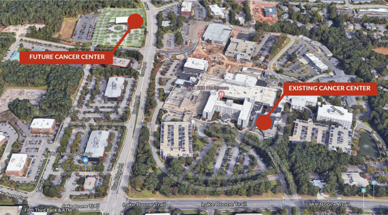 Ariel view of the UNC Rex Healthcare campus in west Raleigh