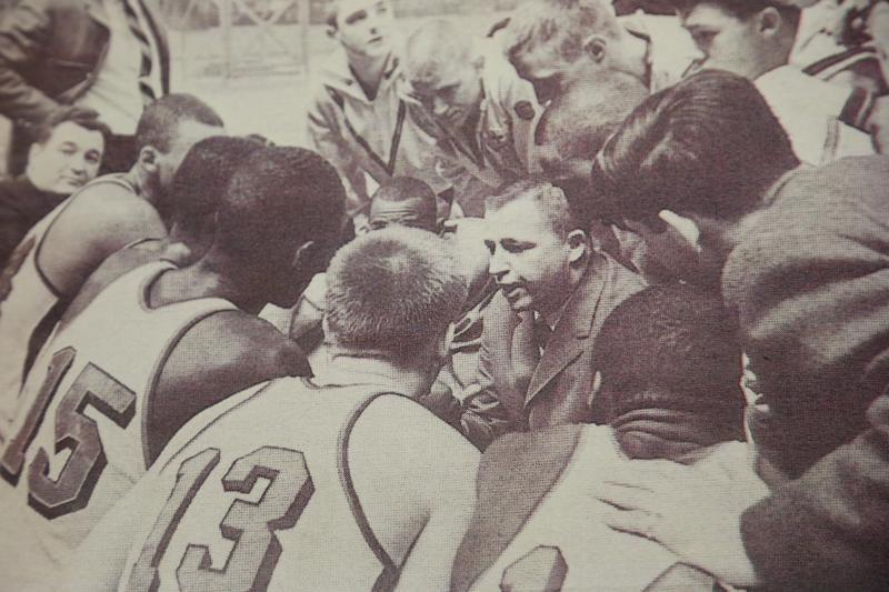 Coach Morgan Wootten, with the highest winning percentage of any coach in the history of the sport, doing what he does best.