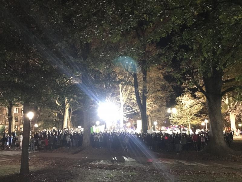 Hundreds of people gather around the Silent Sam pedestal on Dec. 3, 2018 to protest the university's plan to build a history center to house the toppled Confederate statue.