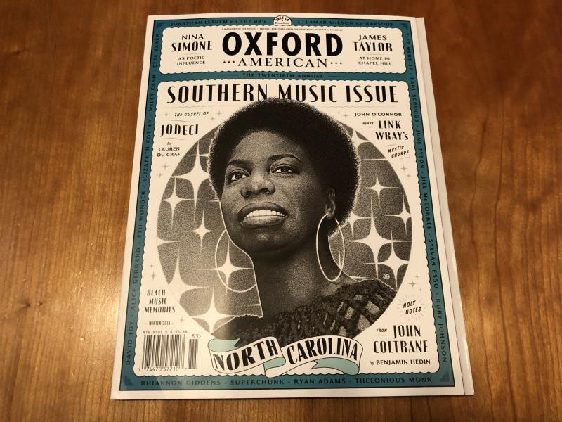 Beloved North Carolinian musical legend Nina Simone graces the cover of Oxford American's Southern Music Issue.