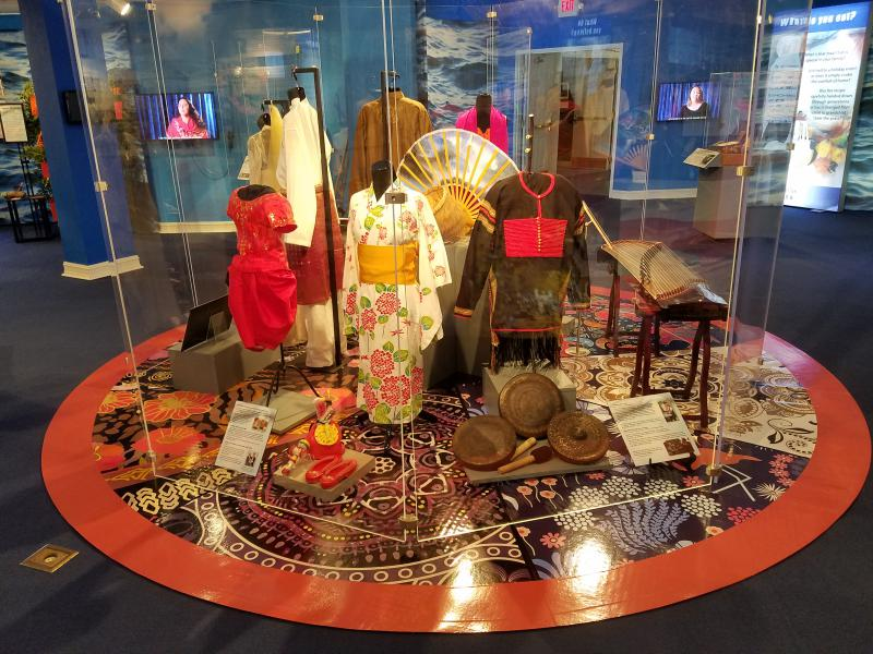 an exhibit of kimonos and other Asian artifacts