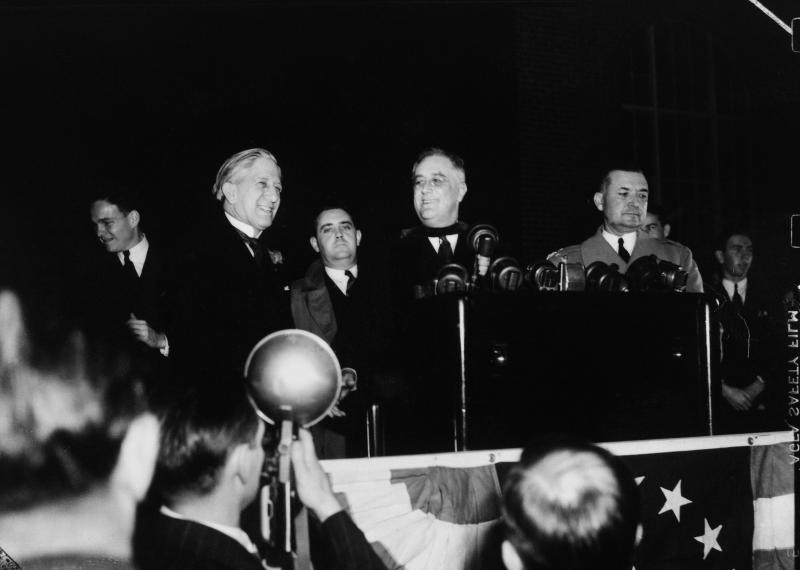 President Franklin D. Roosevelt stands next to Clyde R. Hoey, North Carolina's governor, before speaking at UNC Chapel Hill on Dec. 5, 1938.