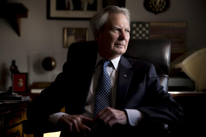 Rep. Walter Jones, R-N.C. poses for a portrait in his office on Capitol Hill, Wednesday, Oct. 25, 2017, in Washington
