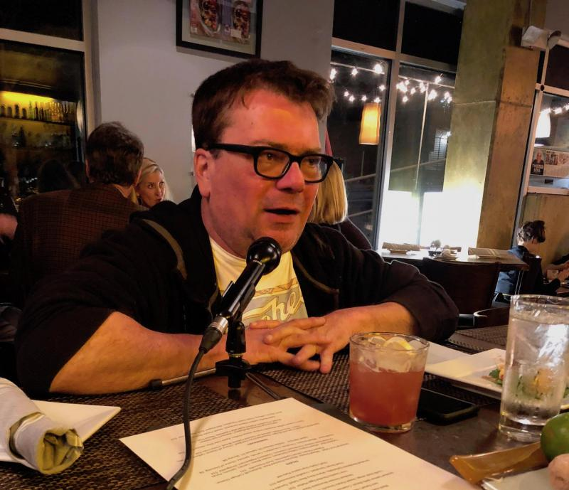Host Chuck Reece at a bar in Atlanta for an episode of The Bitter Southerner Podcast.
