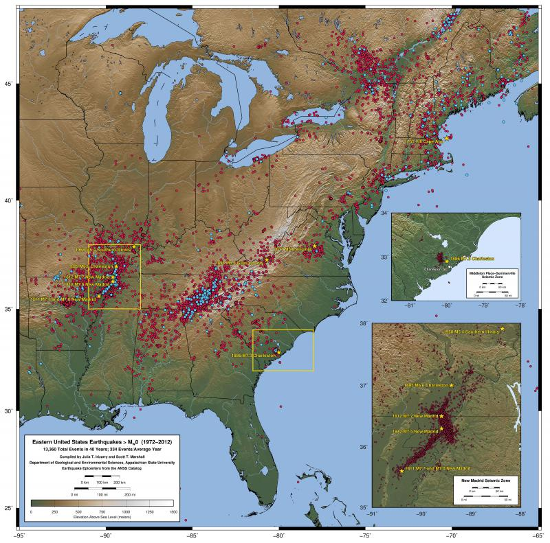 Red circles show earthquake epicenters in the eastern United States from 1972-2012