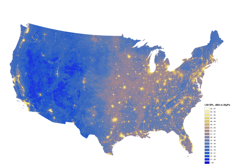 An image of the NPS sound map of the contiguous United States.