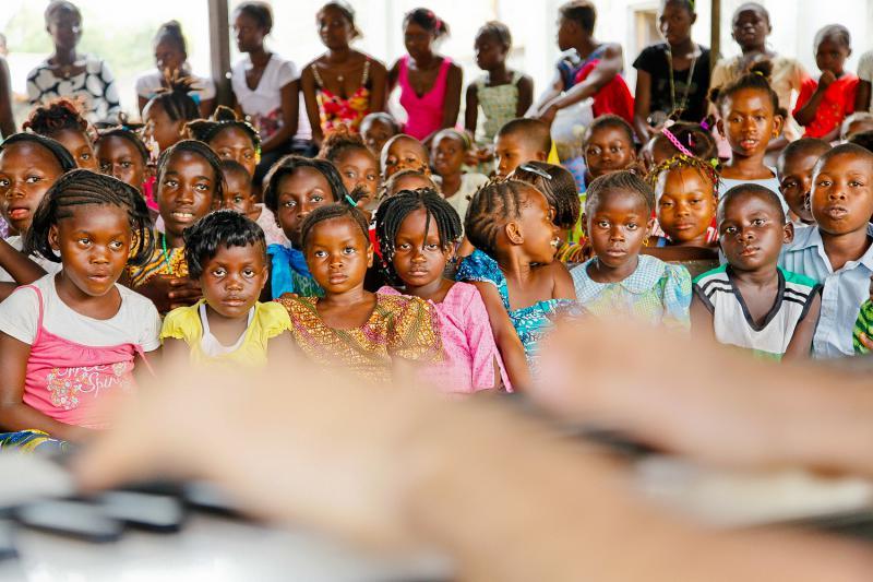 Playing for slum community in Freetown, Sierra Leone, April 2012