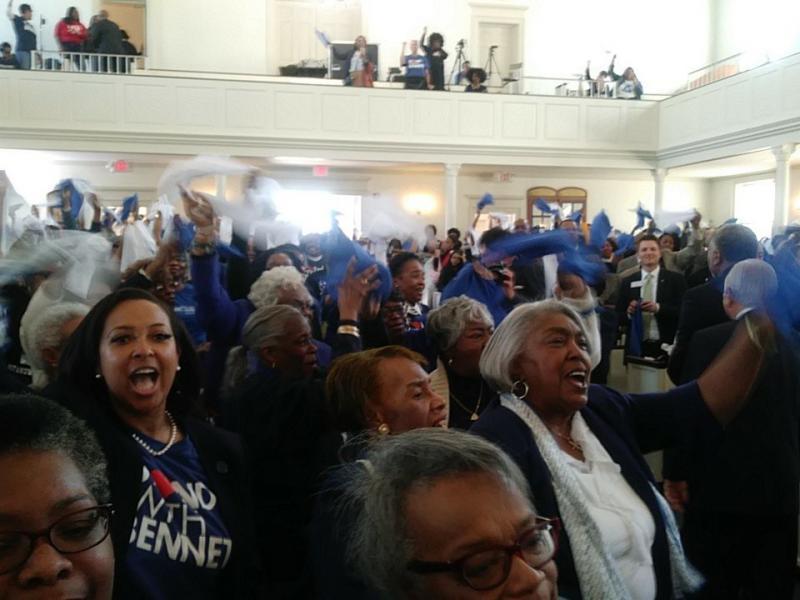 The crowd in the Annie Merner Pfieffer Chapel sing Bennett College's
