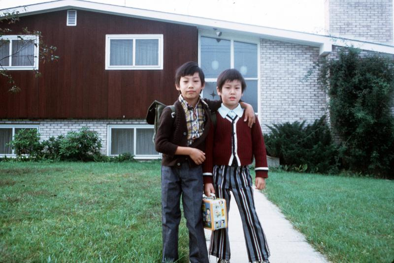 Kaiser and his brother John, first day of school, 1972. Apalachin, New York.