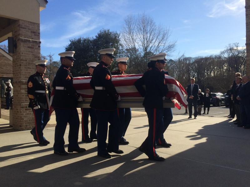 A Marine Corps Honor Guard carries the casket of Congressman Walter Jones, Jr., after his funeral service at St. Peter's Catholic Church, in Greenville, N.C., on February 14, 2019.