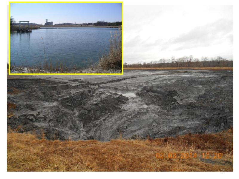 This is what the coal ash basin looked like before and after it drained into the Dan Rive.r