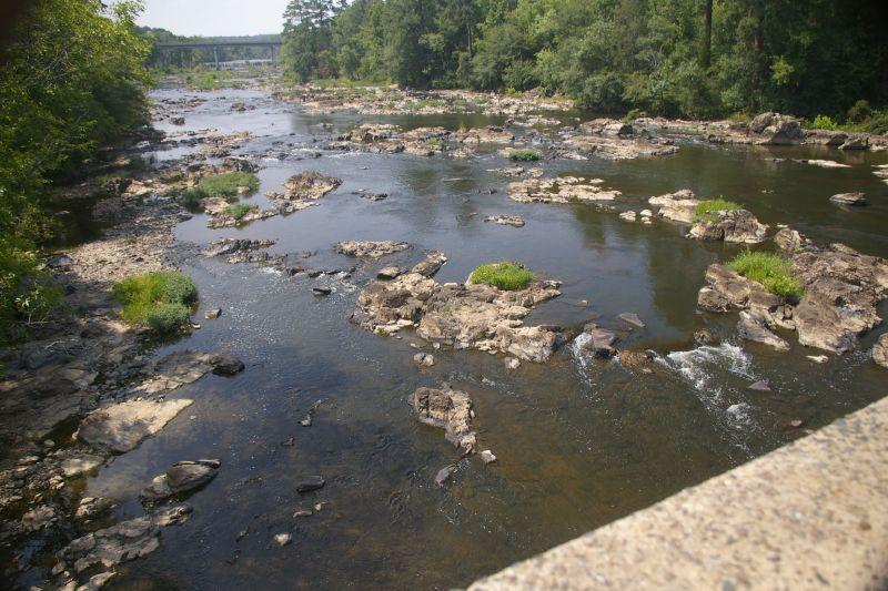 The Haw River as seen from the Bynum Bridge with 15-501 in the distance