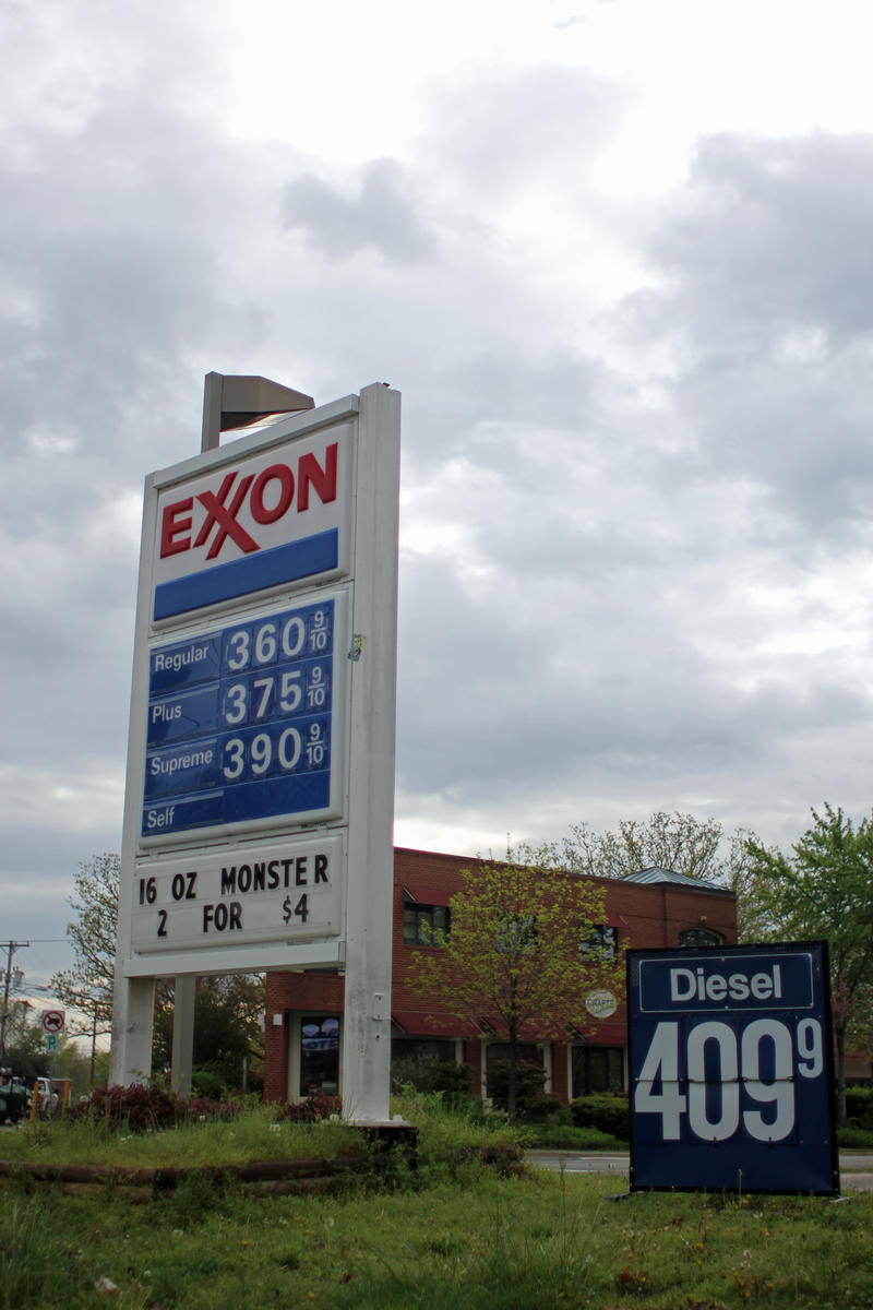 Gasoline prices at the Carrboro Food Mart gas station in April 2013