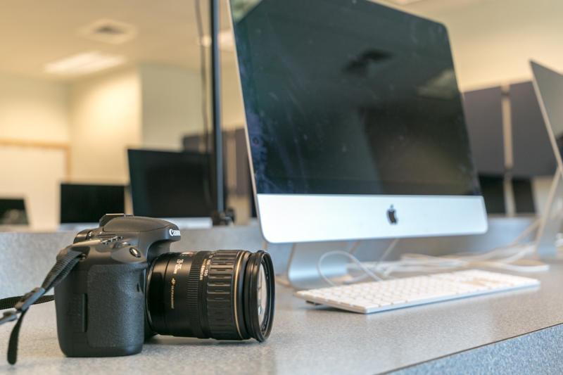 a camera and computer inside a classroom at a Durham Public school.