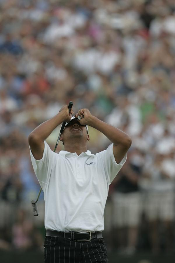 Michael Campbell reacts to winning the 2005 U.S. Open held at the Pinehurst Resort No. 2 Course in Pinehurst, N.C., Sunday, June 19, 2005.