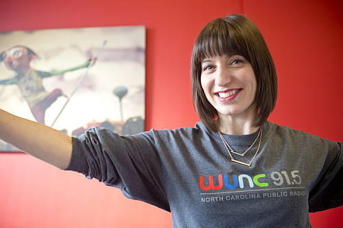 Host Ophira Eisenberg wearing a very stylish WUNC T-shirt
