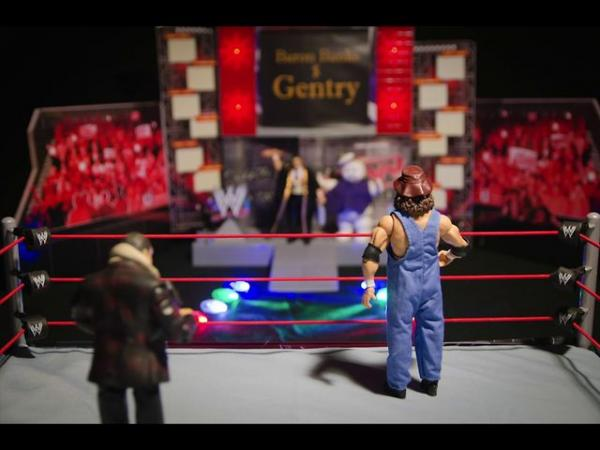 Action Figures In Wrestling Match: A Still From Barbecue Man Unleashed